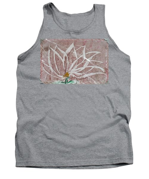 White Abstract Floral On Silverpastel Pink Tank Top