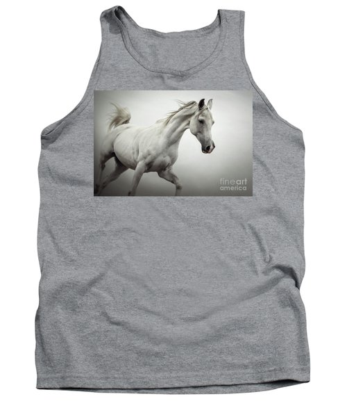 Tank Top featuring the photograph White Horse On The White Background Equestrian Beauty by Dimitar Hristov