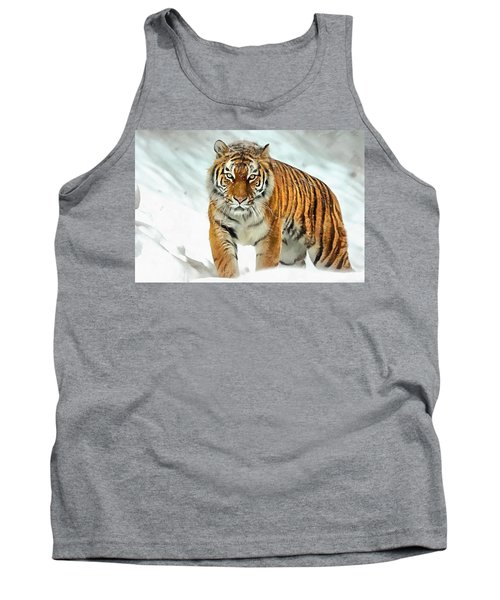 Tank Top featuring the painting Winter Tiger by Harry Warrick