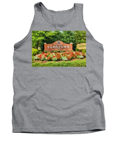Tank Top featuring the painting Yorktown Sign by Harry Warrick