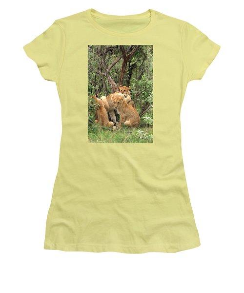 Masai Mara Lion Cubs Women's T-Shirt (Junior Cut) by Aidan Moran