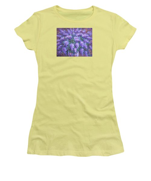 Women's T-Shirt (Junior Cut) featuring the painting  Scented Lilacs Bouquet by Natalie Holland