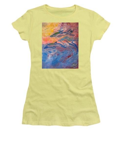 Soaring Dolphins Women's T-Shirt (Junior Cut) by Meryl Goudey