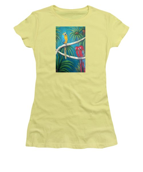 Three Is A Crowd,macaws Women's T-Shirt (Athletic Fit)