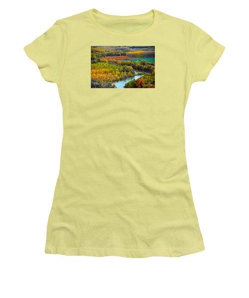 Autumn Colors On The Ebro River Women's T-Shirt (Junior Cut) by RicardMN Photography