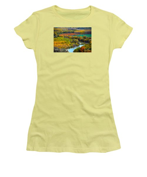 Autumn Colors On The Ebro River Women's T-Shirt (Athletic Fit)