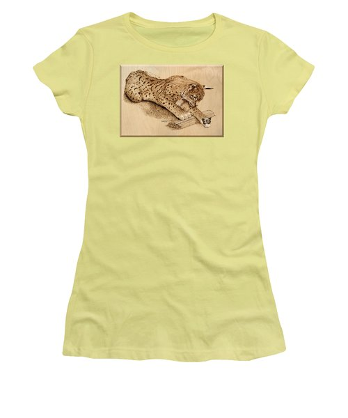 Bobcat And Friend Women's T-Shirt (Junior Cut) by Ron Haist