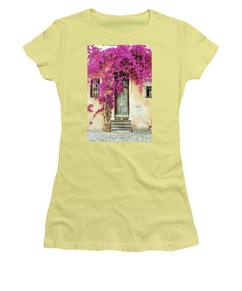 Bougainvillea Doorway Women's T-Shirt (Junior Cut) by Allen Beatty