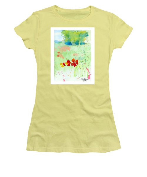 Women's T-Shirt (Junior Cut) featuring the painting Field Of Flowers by C Sitton