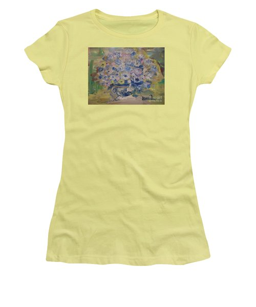 Women's T-Shirt (Junior Cut) featuring the painting Flow Bleu by Laurie L