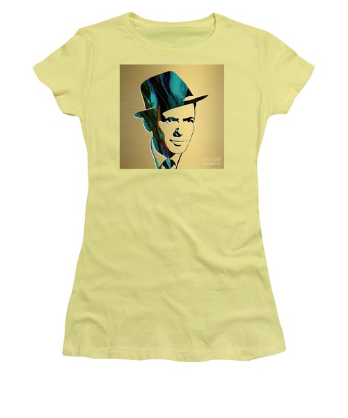 Women's T-Shirt (Junior Cut) featuring the mixed media Frank Sinatra Gold Series by Marvin Blaine