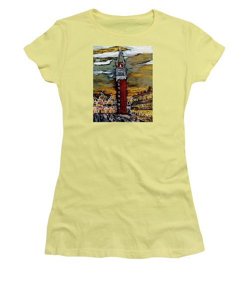 Women's T-Shirt (Junior Cut) featuring the painting Golden Venice by Jasna Gopic