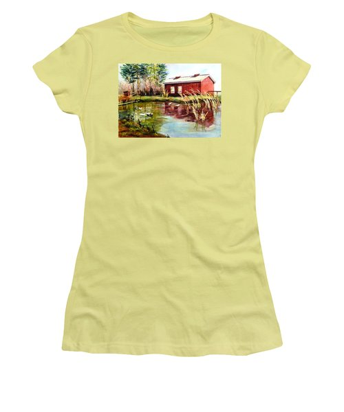 Green Acre Farm Women's T-Shirt (Junior Cut) by Betty M M   Wong
