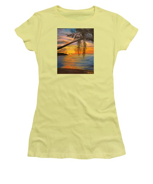 Women's T-Shirt (Junior Cut) featuring the painting Hawaiian Sunset 11 by Jenny Lee