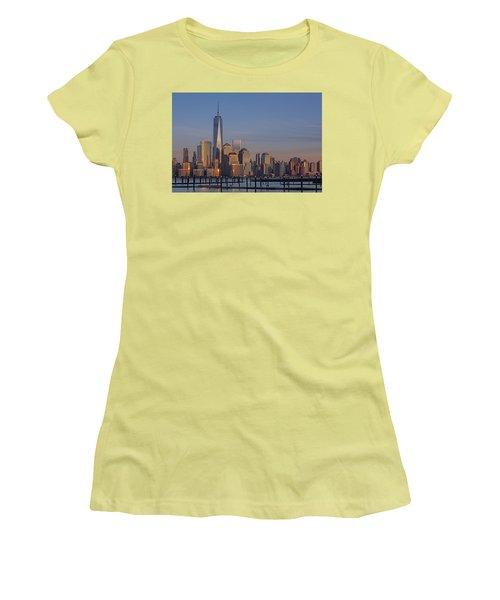 Lower Manhattan Skyline Women's T-Shirt (Junior Cut) by Susan Candelario