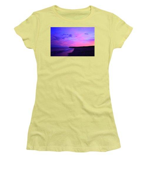 Pink Sky And Beach Women's T-Shirt (Junior Cut) by Jason Lees