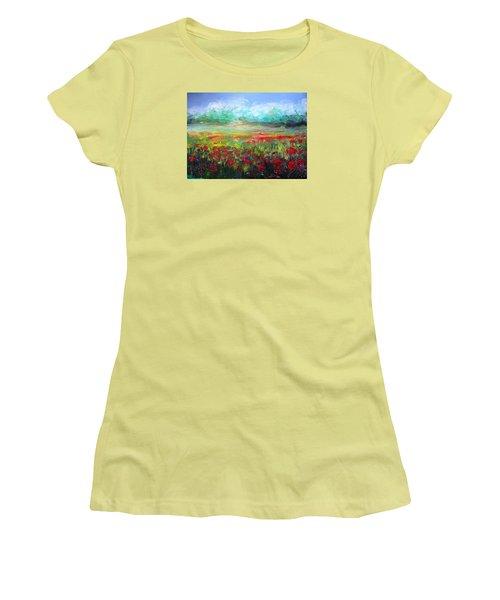 Women's T-Shirt (Junior Cut) featuring the painting Poppy Fields by Vesna Martinjak