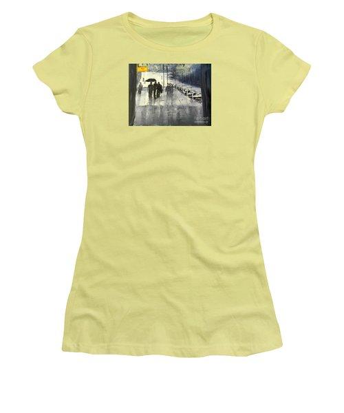 Rainy City Street Women's T-Shirt (Junior Cut) by Pamela  Meredith