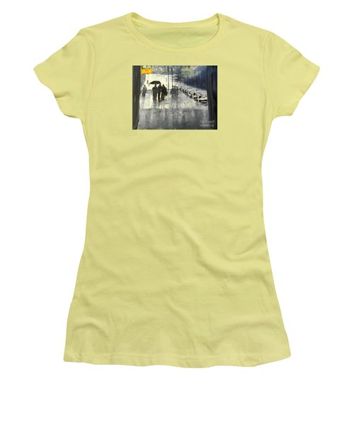 Rainy City Street Women's T-Shirt (Athletic Fit)