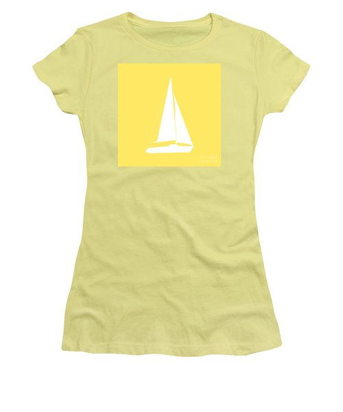 Sailboat In Yellow And White Women's T-Shirt (Athletic Fit)
