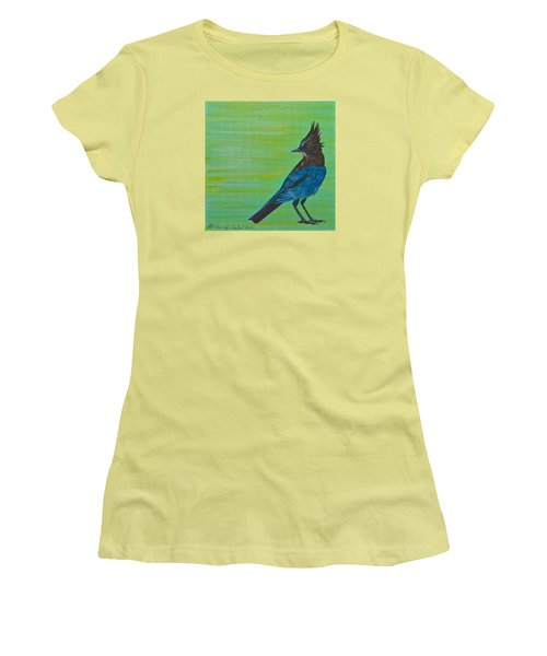 Women's T-Shirt (Junior Cut) featuring the painting Stellar Jay by Jennifer Lake