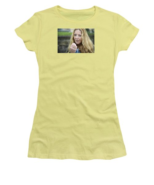 Women's T-Shirt (Junior Cut) featuring the photograph Street People - A Touch Of Humanity 1 by Teo SITCHET-KANDA