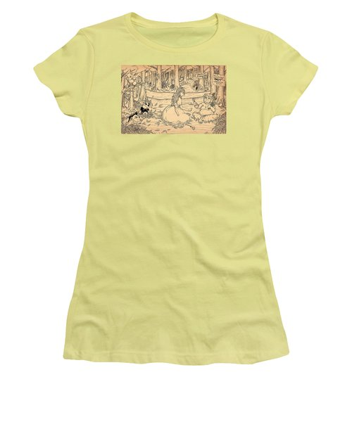 Women's T-Shirt (Junior Cut) featuring the drawing Tammy And The Baby Hoargg by Reynold Jay