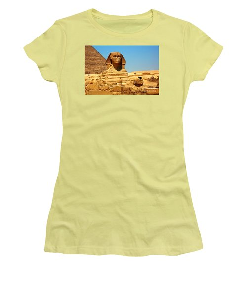 Women's T-Shirt (Junior Cut) featuring the photograph The Great Sphinx Of Giza And Pyramid Of Khafre by Joe  Ng