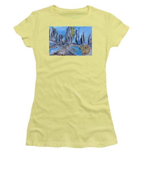 Women's T-Shirt (Junior Cut) featuring the painting Urban by Evelina Popilian