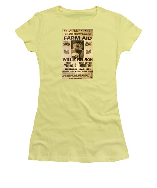 Vintage Willie Nelson 1985 Farm Aid Poster Women's T-Shirt (Athletic Fit)