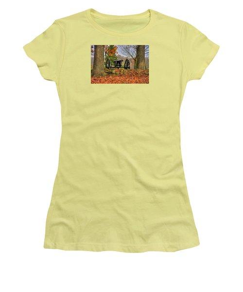 Women's T-Shirt (Junior Cut) featuring the photograph War Thunder - The Charlotte North Carolina Artillery Grahams Battery West Confederate Ave Gettysburg by Michael Mazaika