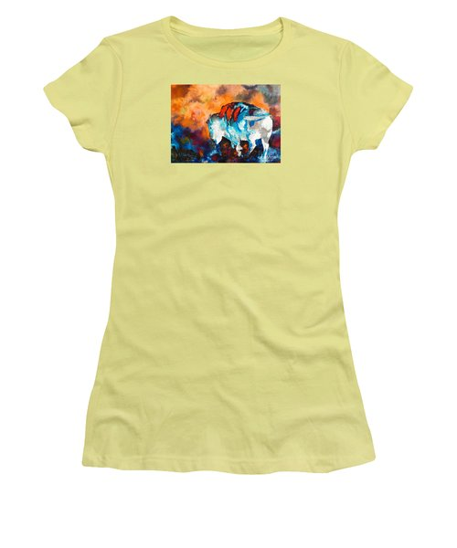Women's T-Shirt (Junior Cut) featuring the painting White Buffalo Ghost by Karen Kennedy Chatham