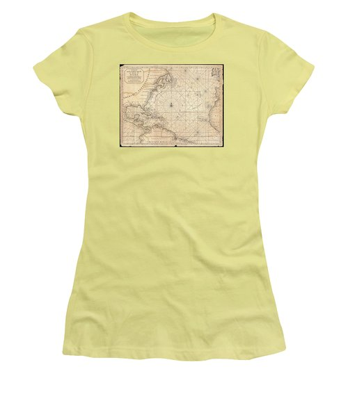 1683 Mortier Map Of North America The West Indies And The Atlantic Ocean  Women's T-Shirt (Junior Cut) by Paul Fearn