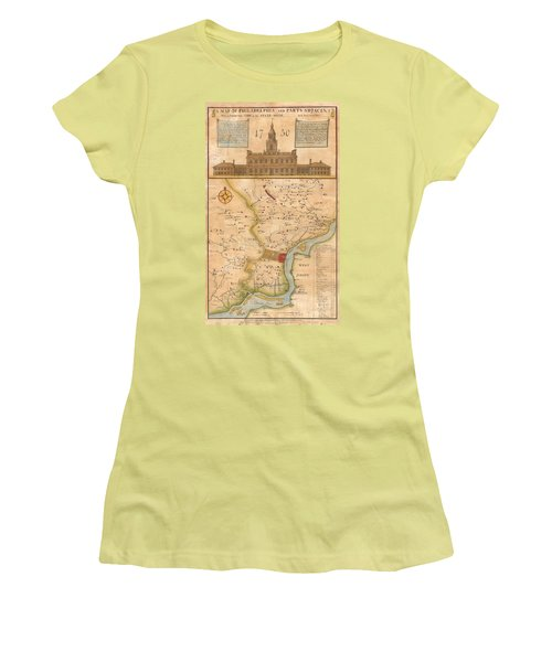 1752  Scull  Heap Map Of Philadelphia And Environs Women's T-Shirt (Junior Cut) by Paul Fearn