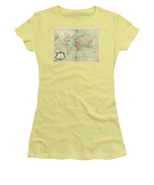 1778 Bellin Nautical Chart Or Map Of The World Women's T-Shirt (Junior Cut) by Paul Fearn