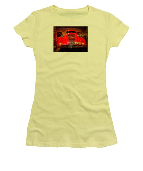 Women's T-Shirt (Junior Cut) featuring the photograph 1939 World's Fair Fire Engine by MJ Olsen