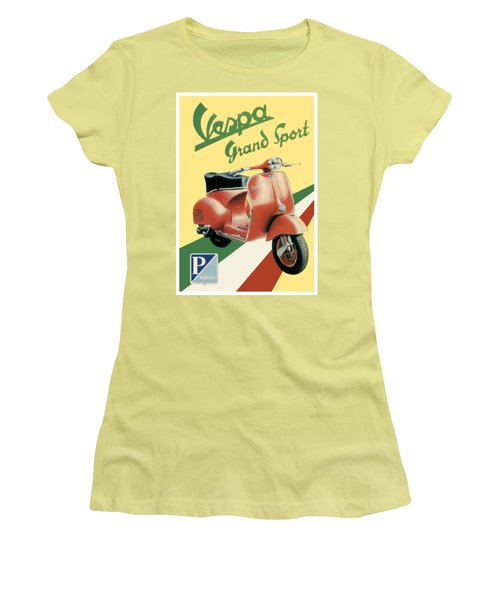 1955 - Vespa Grand Sport Motor Scooter Advertisement - Color Women's T-Shirt (Athletic Fit)