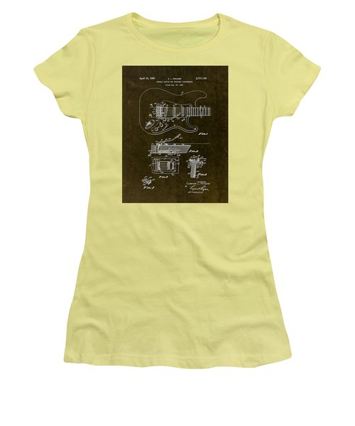 1956 Fender Tremolo Patent Drawing II Women's T-Shirt (Junior Cut) by Gary Bodnar