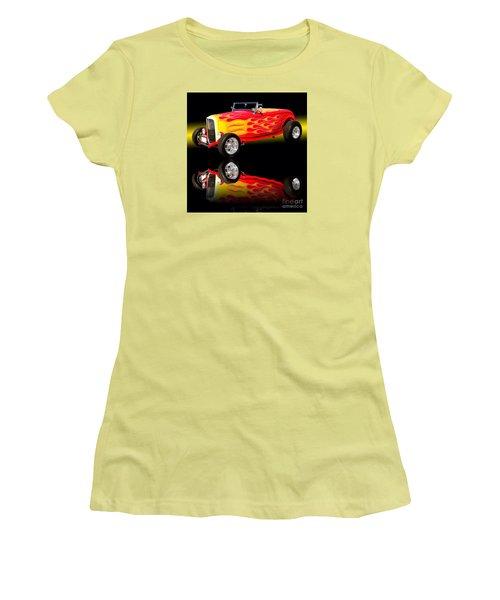 1932 Ford V8 Hotrod Women's T-Shirt (Junior Cut) by Jim Carrell