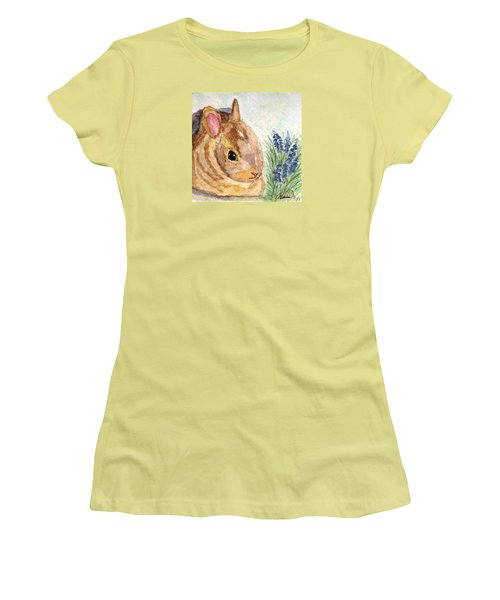 Women's T-Shirt (Junior Cut) featuring the painting A Baby Bunny by Angela Davies
