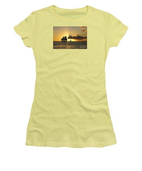 Women's T-Shirt (Junior Cut) featuring the photograph Key West Sunset by Olga Hamilton