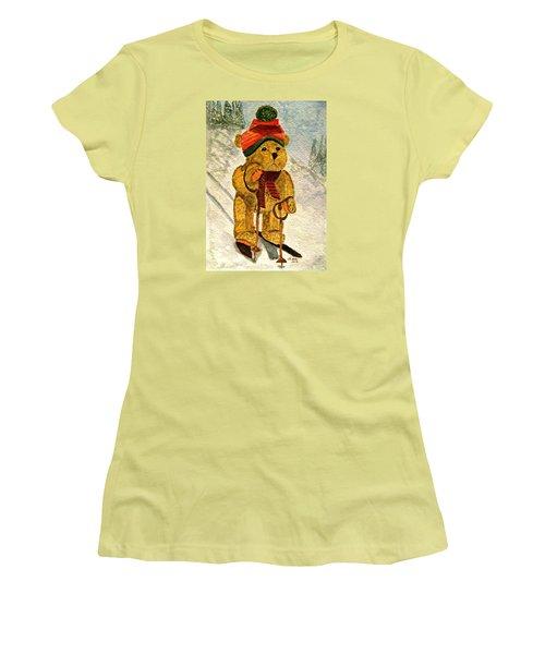 Learning To Ski Women's T-Shirt (Junior Cut) by Angela Davies