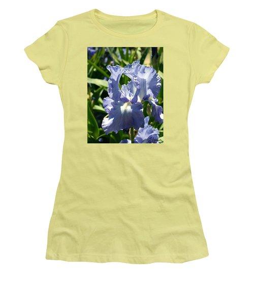 Purple Bearded Iris Women's T-Shirt (Junior Cut) by Ellen Henneke