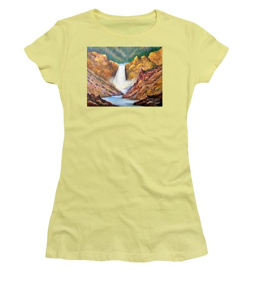 Yellowstone Falls Women's T-Shirt (Junior Cut) by Lou Ann Bagnall