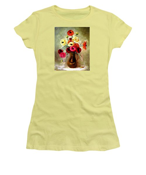 Women's T-Shirt (Junior Cut) featuring the painting Basking In The Light by Hazel Holland