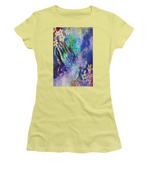 Women's T-Shirt (Junior Cut) featuring the painting Praying Hands Flowers And Cross by Annie Zeno