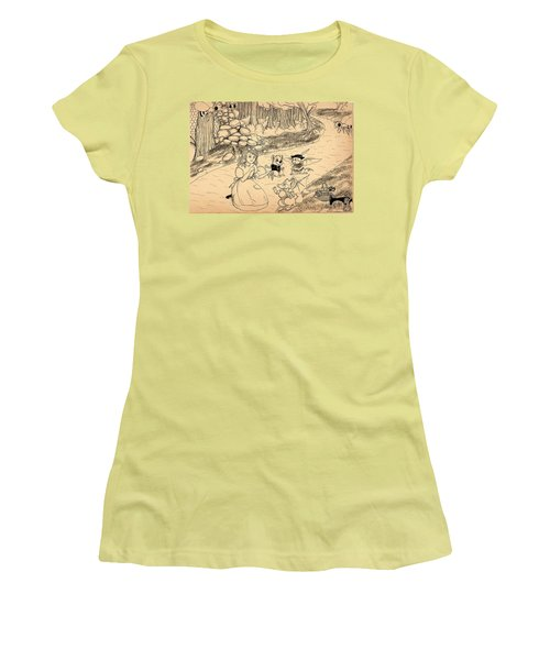 Women's T-Shirt (Junior Cut) featuring the drawing Tammy  Meets Cedric The Mongoose by Reynold Jay