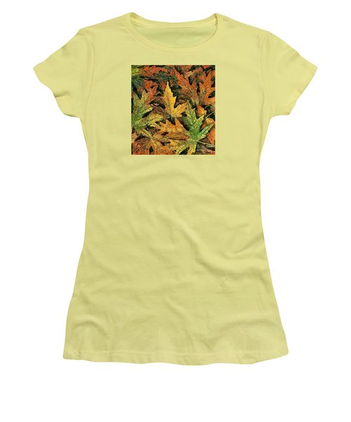 Women's T-Shirt (Junior Cut) featuring the painting A Carpet Of  Falling Leaves by Dragica  Micki Fortuna
