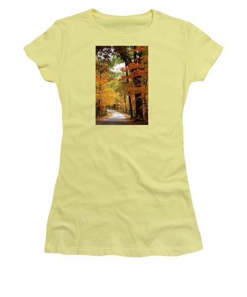 Women's T-Shirt (Junior Cut) featuring the photograph A Drive Through The Woods by Bruce Bley