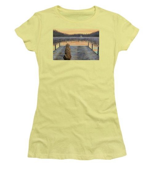 Women's T-Shirt (Junior Cut) featuring the painting A Golden Moment by Susan DeLain